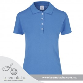 Playera Polo Dama Celeste