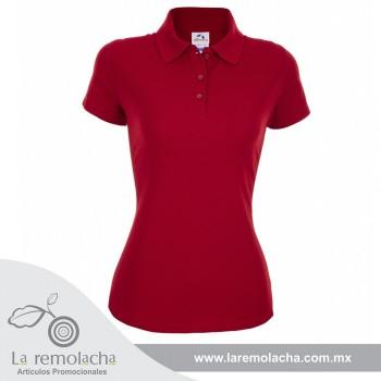 Playera polo Cardado Rojo para dama