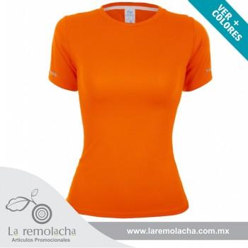 Playera Dryfit cuello redondo para dama Naranja