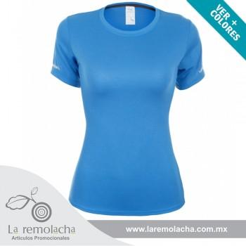 Playera Dryfit cuello redondo para dama Azul Electrico