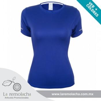Playera Dryfit cuello redondo para dama Azul Royal