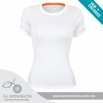 Playera Dryfit cuello redondo para dama Blanco