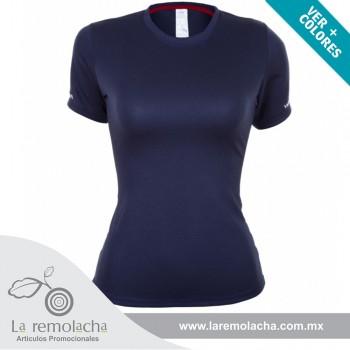 Playera Dryfit cuello redondo para dama Azul Marino